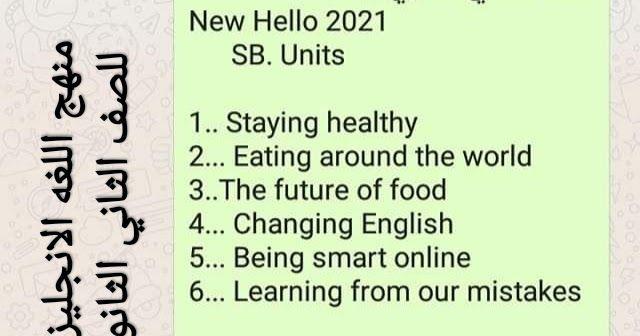 منهج اللغه الانجليزيه الجديد للصف الثاني الثانوي الترم الاول 2021 أسماء دروس مقرر اللغة الإنجليزية الجديد للصف الثاني ا How To Stay Healthy Language The Unit