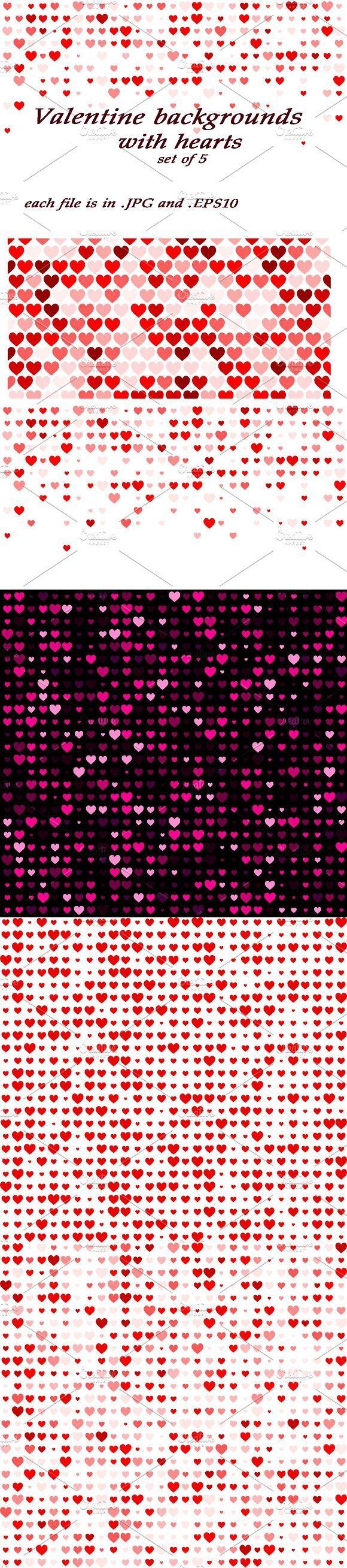 Valentine backgrounds, set of 5 pcs. Patterns