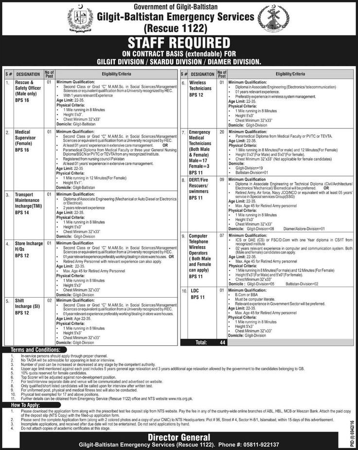 Rescue 1122 Jobs in Gilgit Baltistan Via NTS (With Helping