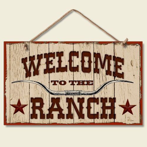 """New """" WELCOME TO THE RANCH """" SIGN Western Plaque Longhorn Star Cowboy Decor ART"""