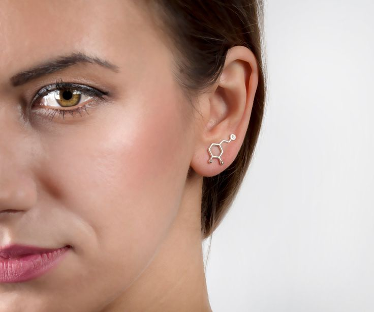 Dopamine earrings molecule, WHITE GOLD SOLID, ear cuff, molecule jewelry chemistry, diamond earring birthstone April, ear climbers, minimal by largentolab on Etsy