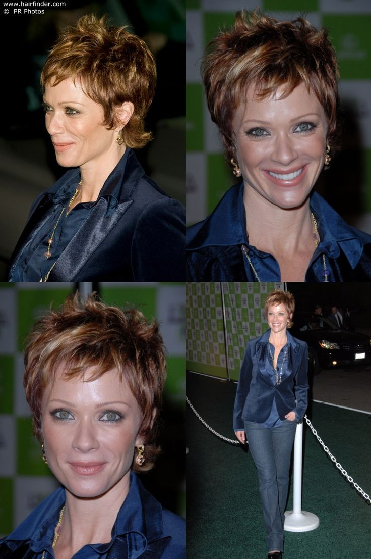 side view of Lauren Holly with very short hair