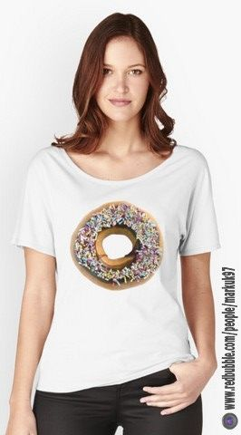 Chocolate Ring Donut Covered With Sprinkles Women's Relaxed Fit T-Shirts http://www.redbubble.com/people/markuk97/works/22387972-chocolate-ring-donut-covered-with-sprinkles?p=womens-relaxed-fit via @redbubble #donut #chocolate #ring #tasty #redbubble