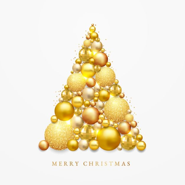 Download Christmas Tree Made Of Realistic Golden Decoration For Free Christmas Vectors Christmas Tree Christmas