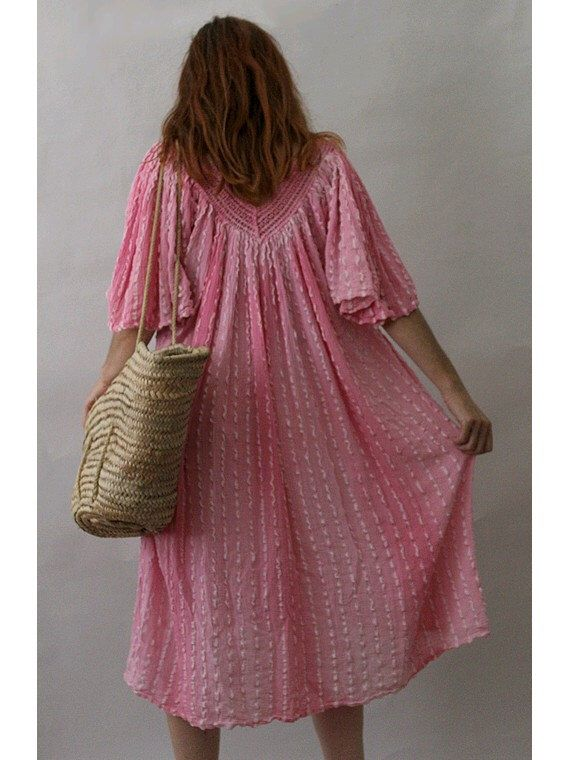 Pink 70s Gauze Tent  Dress Angel sleeves by lesclodettes on Etsy https://www.etsy.com/listing/456984758/pink-70s-gauze-tent-dress-angel-sleeves