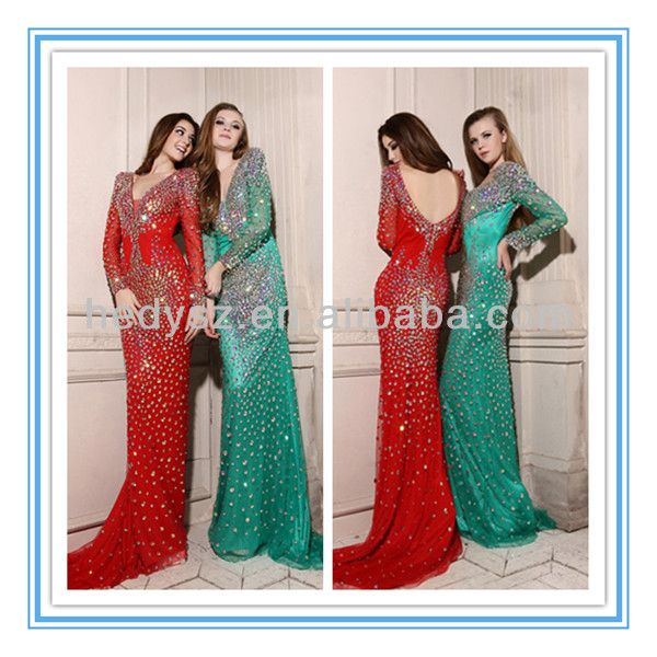 HD752 Luxury Shinny Stones Low Back Red Mermaid Long Sleeve Evening Dress