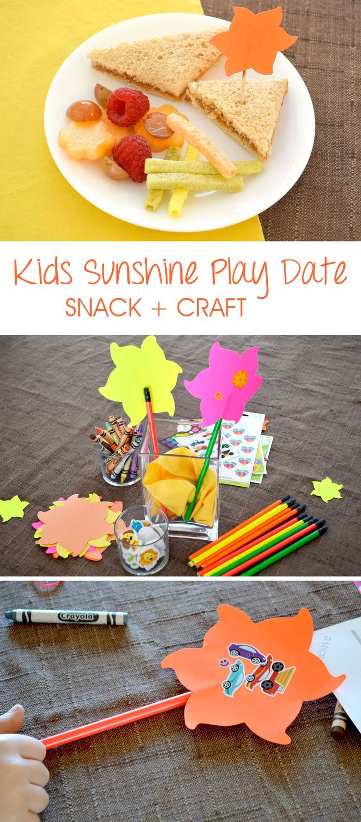 Fun kids sunshine party play date idea with snack and craft