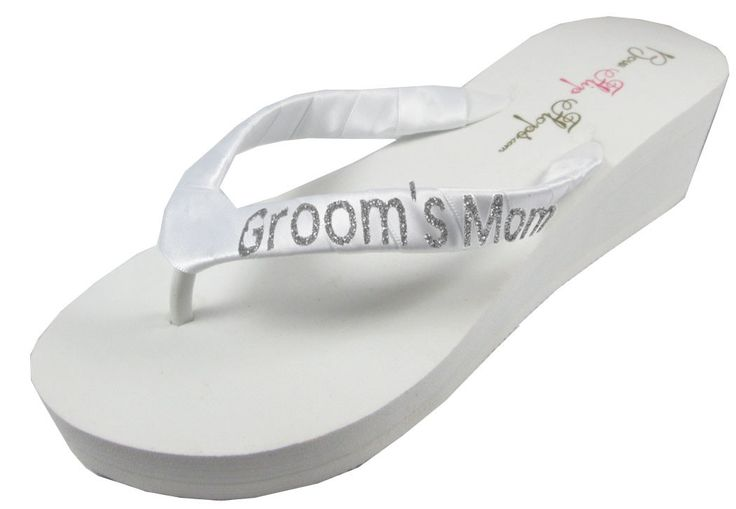 Mother of the Groom Wedding Flip Flops- White Ivory Wedges with Silver Glitter - Flip Flop Sandals-choose heel height