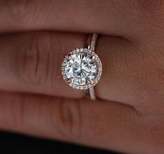 14k Rose Gold Moissanite Engagement Ring with by Twoperidotbirds