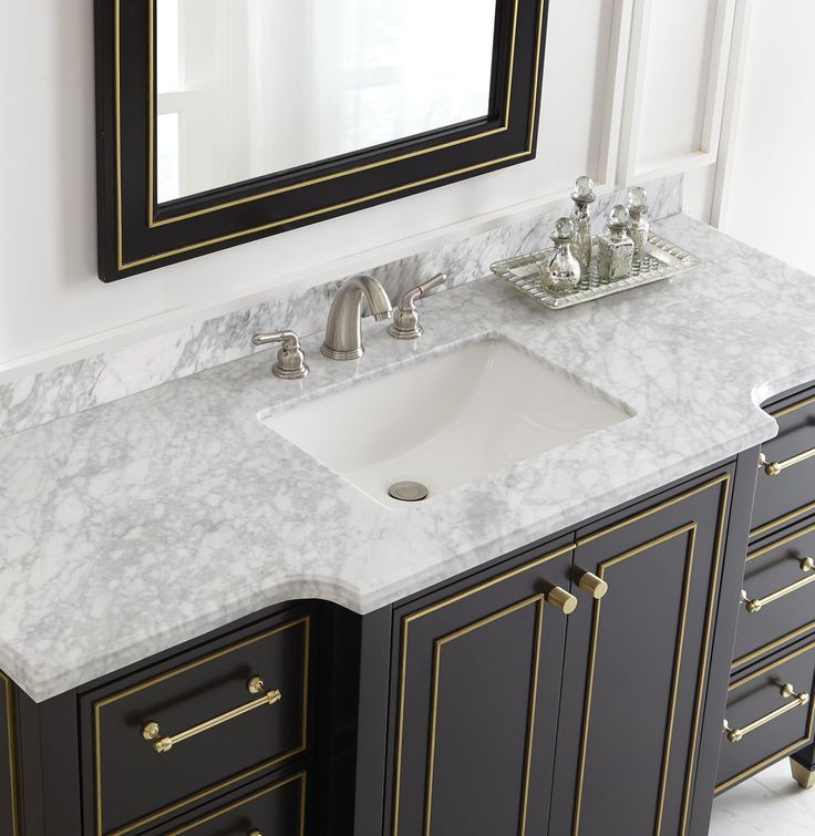 Super stylish black and gold is balanced out with a white marble top  So  sleek and elegant  This single bath vanity is a must have 165 best Bath images on Pinterest   Bathroom ideas  Bath vanities  . Elegant Bathrooms Aberdeen. Home Design Ideas