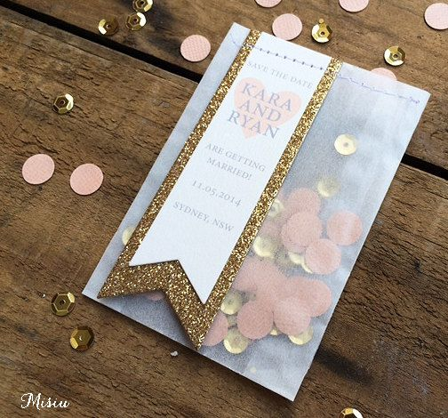 Peach & Gold Save the Date Confetti Bags by MisiuPaperware on Etsy, $3.00