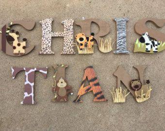 Letras de madera de Safari animales Woodel por KidMuralsbyDanaR
