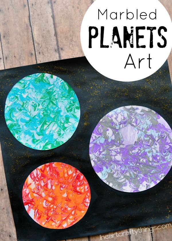 Preschool Space Craft: Marbled Planets ArtI Heart Crafty Things