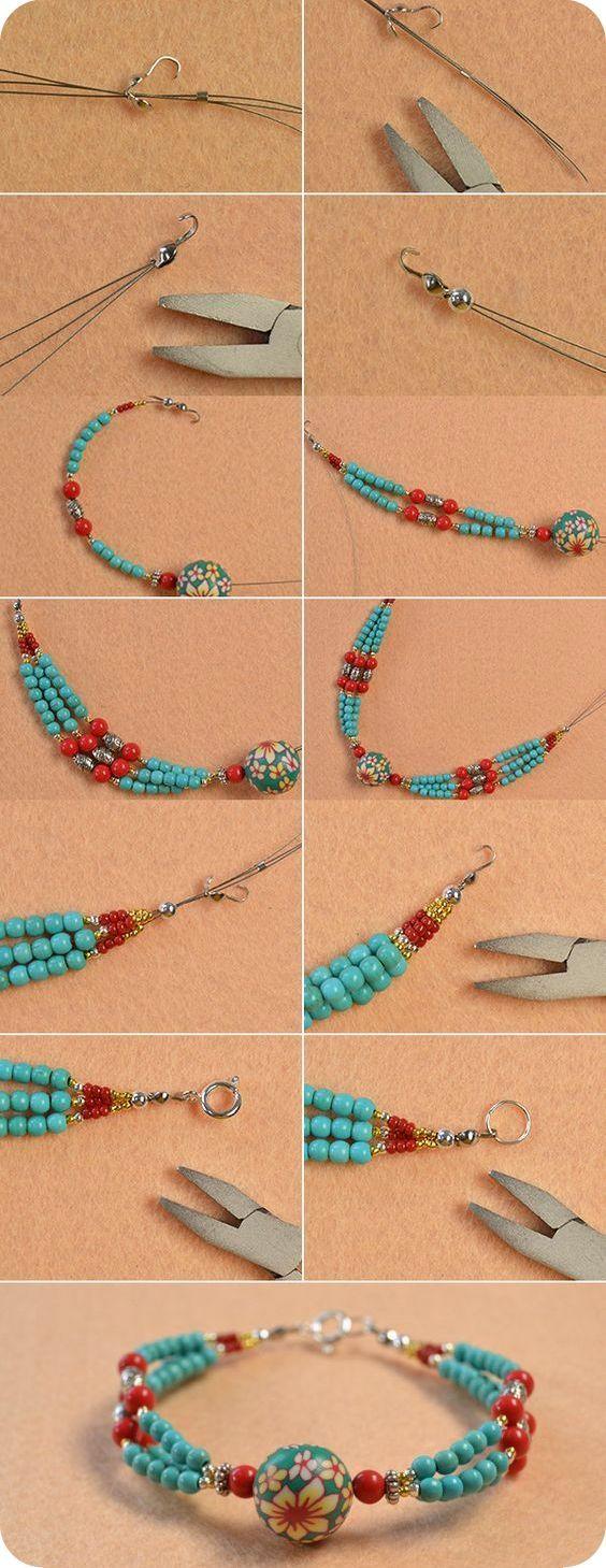 Passo a passo de pulseiras e braceletes - A postagem de hoje está dedicada ao passo a passo de alguns modelos de pulseiras e braceletes para iniciantes.