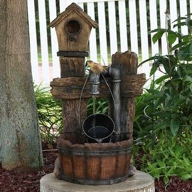 Rustic Bird House Outdoor Water Fountain | Overstock.com Shopping - The Best…