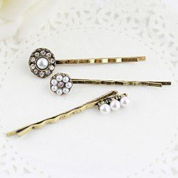 $2.93 3PCS of Vintage Faux Pearl / Rhinestone Embellished Hairpins For Women