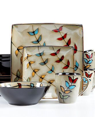 Sango Dinnerware, Flora Black 16 Piece Set - Casual Dinnerware - Dining & Entertaining - Macy's Bridal and Wedding Registry