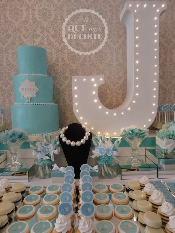 Gorgeous desserts at a Tiffany's birthday party! See more party ideas at CatchMyParty.com!