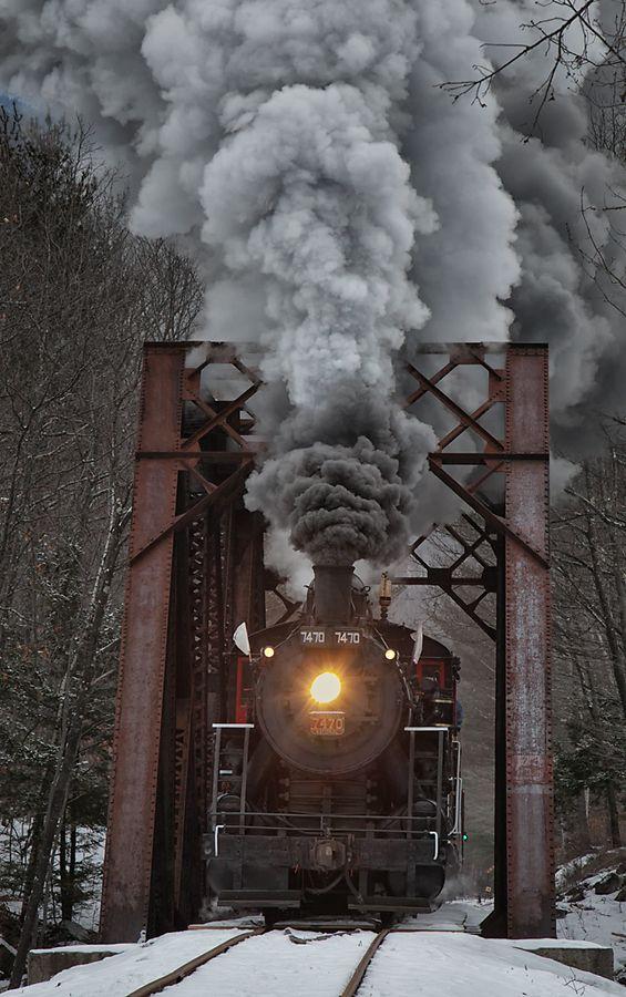 .Steam Train Crossing Bridge