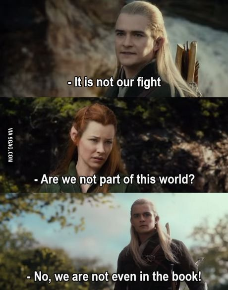 That's right. For you people who DIDN'T read the book. Legolas wasn't even in it, and that other elf girl doesn't exist.