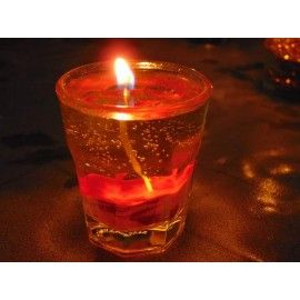 Handmade gel candle with waves with lime fragrance