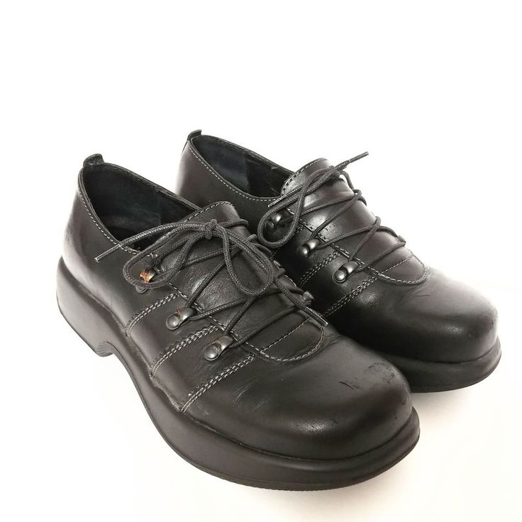 Dansko Black Leather Janika Lace Up Clog Platform Oxford Shoe Women 39 Us  8.5 9
