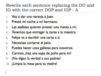 Spanish Double Object Pronouns Worksheet And Quiz Advanced