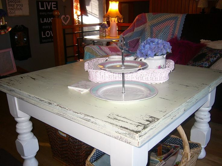 We rescued this old table from someones front lawn. It was sitting in the weather - had to have it, with a bit of paint and love we gave it a new home. I love Vintage Style Cup Cake Stands and Crocheted Blankets.