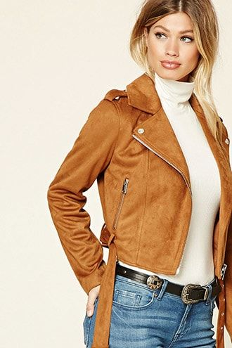 ¡Cómpralo ya!. Faux Suede Moto Jacket. details   A faux suede moto jacket featuring an asymmetrical zippered front, notched lapels, snap-button epaulets, zippered front slip pockets, long sleeves, and a removable belt at the waist.  Content + Care   - Shell & Lining: 100% polyester- Hand wash cold- Made in China  Size + Fit  - Model is 5'7.5%22 and wearing a Small- Full length: 18.5%22- Chest: 34%22- Waist: 33%22- Sleeve length: 23%22 , chaquetadecuero, polipiel, biker, ante, antelina…