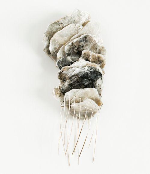 Gabrielle Desmarais Brooch 2011 Silver, shibuichi, shell, epoxy, cement