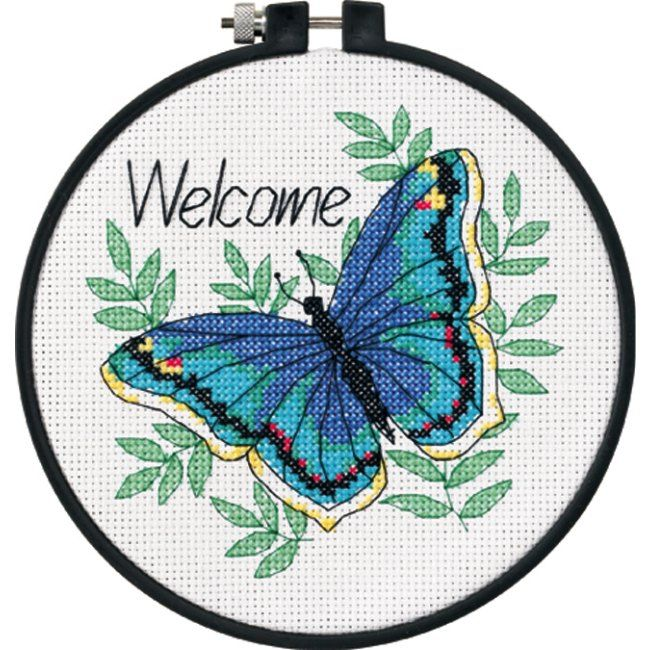 Butterfly Pattern | The Welcome Butterfly Counted Cross Stitch Kit is a colorful cross ...