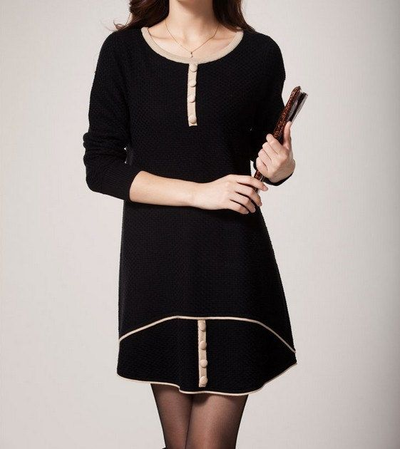 Black Aline dress longsleeved wool sweater long by ElegantGens