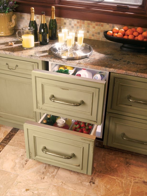 """Cool Cabinets"" Under the counter refrigerator to store beverages and produce.Ideas, Wet Bar, Cabinets Colors, Small Home, Bar Area, Drawers, Kitchens Storage Solutions, Country Kitchens, Kitchens Cabinets"