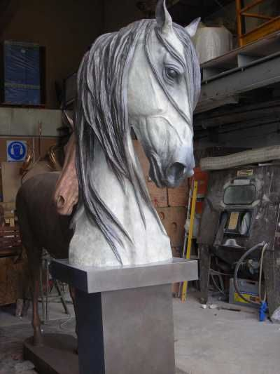 Bronze Horse Sculpture / Equines Race Horses Pack HorseCart Horses Plough Horsess sculpture by artist Gill Parker titled: 'Grey Head (bronze life size Commission Portrait Horse Head statue)'