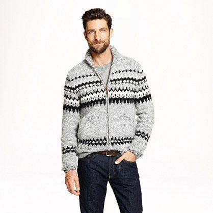 Alpaca fair isle patterns  full-zip sweater