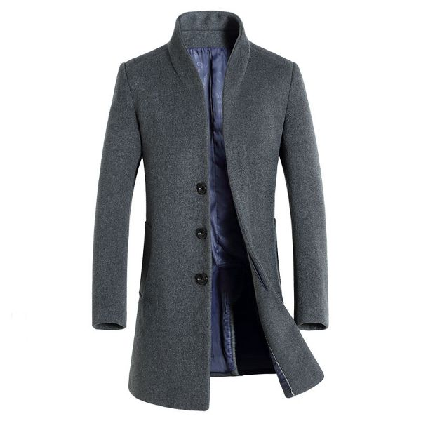 Winter Mid-long Business Casual Wool Trench Coat Slim Fit Jacket for Men Online - NewChic Mobile