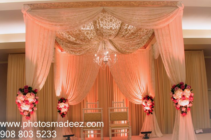 Mandap for Wedding at Sheraton Parsippany, NJ. Punjabi Wedding in New Jersey. Along with  Elegant Affairs. Punjabi Wedding Sikh Groom Hindu Bride. Best Wedding Photographers in New Jersey PhotosMadeEz. Wedding Decor. Featured in Maharani Weddings.