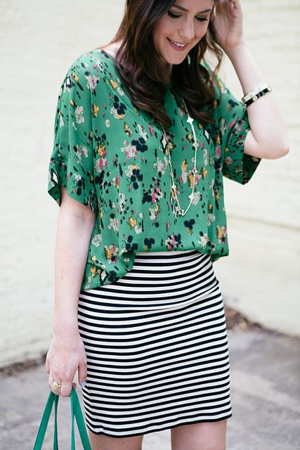 Mixing prints. Cute!! Try with a longer skirt; maybe try pairing with a black and white chevron maxi and either heeled sandals or flats. Also try substituting the teal for coral.