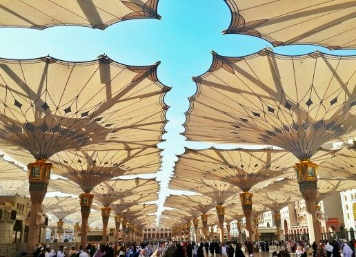 Giant Umbrella Madinah Nabawi Photography Landscape