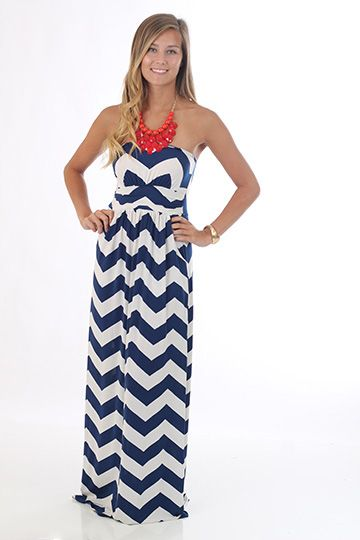 Hot Black navy and white chevron zig zag stripe gathered strapless maxi full pocket dress