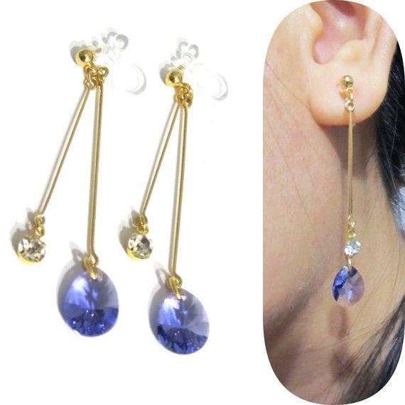 Purple Swarovski Rhinestone Clip On Earrings 11d Teardrop Non Pierced Comfortable Wedding