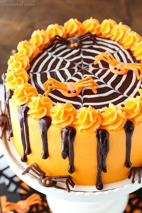 spiderweb chocolate cake with vanilla frosting halloween decorationshalloween