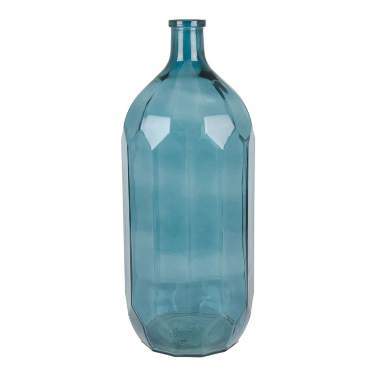 vase textured glass blue 45cm