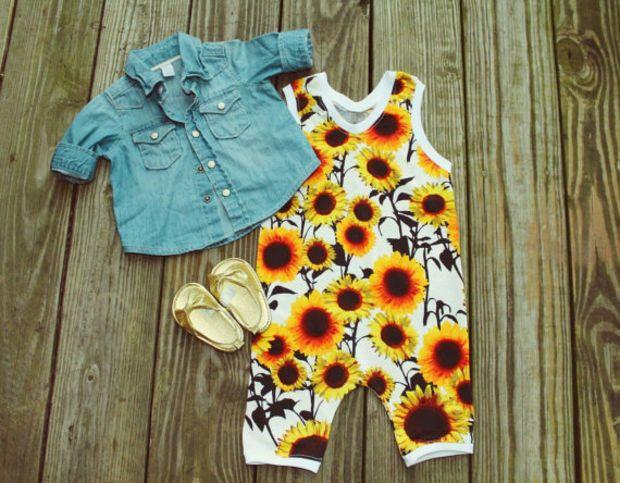 Sunflower baby girl romper, sunflower jumpsuit, black white yellow romper, baby…
