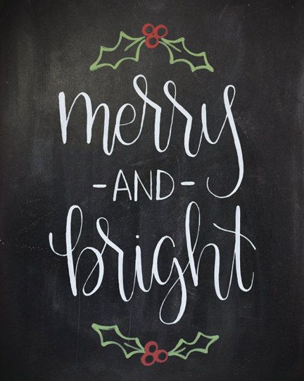 Merry and Bright Chalkboard Christmas Print by HeartcraftedCo