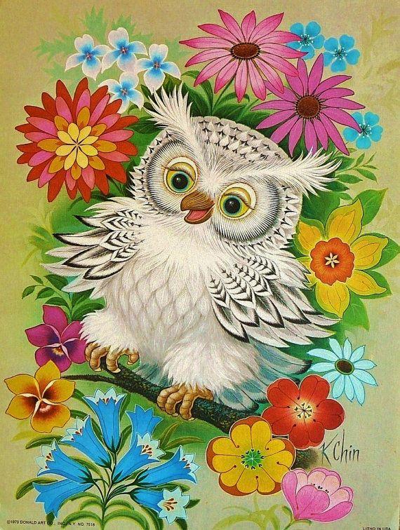 1970s Flower Child Owl K Chin Psychedelic Era by SkitterCats,