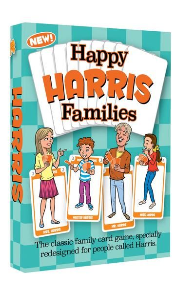 It's the Happy Families card game that you know and love, now with a distinctive personal touch.This special limited edition Happy Families card game is personalized for people named HARRIS!  Fun-filled illustrations on the cards depict an outwardly sane HARRIS family going through the joys, delights and domestic disasters of normal family life. Kids love these amusing new cards and adult will enjoy them too.   Find out more at www.GoForItGames.co.uk