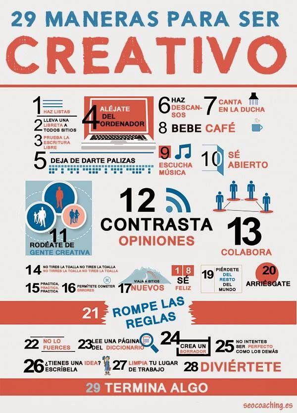 #Infografia #CommunityManager 29 Maneras para Ser Creativo. #TAVnews