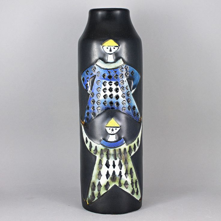 Lisa Larson (Varieté 1956) Colorful Acrobats Vase in Relief