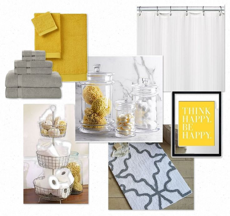 Gray/yellow bathroom - mostly white with gray & yellow accents